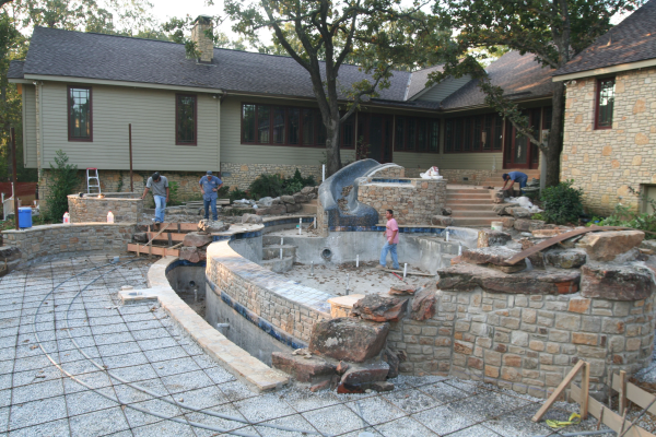 Yard elevation and building a new pool for Pool design for sloped yard