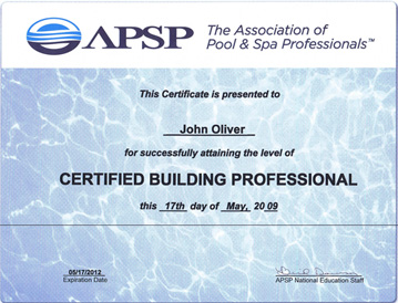 John Oliver's Certified Building Professional certificate.