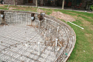 Rebar installed in a swimming pool.