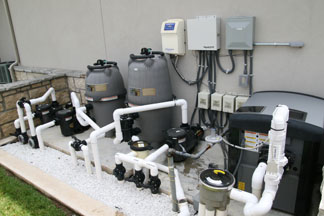 A pool equipment set with electrical  completed.